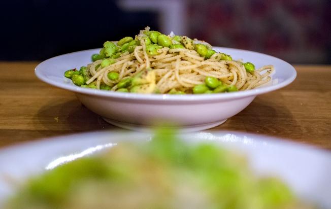 färdig grön pasta framifrån