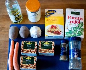 ingredienser till falafel minus lök