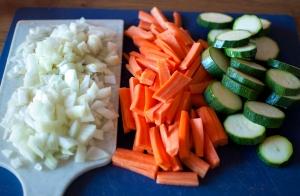 skivade grönsaker