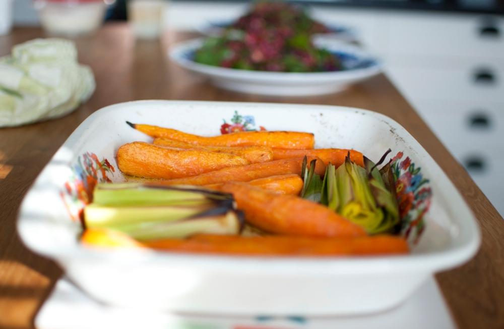 veckansvego rostade morötter