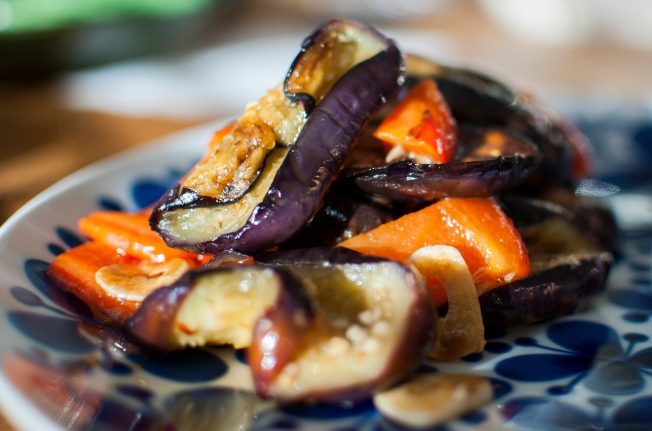 veckansvego färdig stekt aubergine m citron o paprika