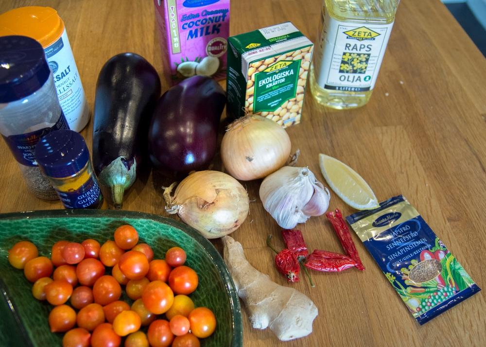 veckansvego ingredienser auberginecurry