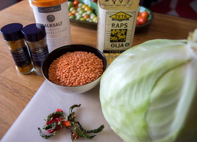 veckansvego ingredienser vitkål och linser