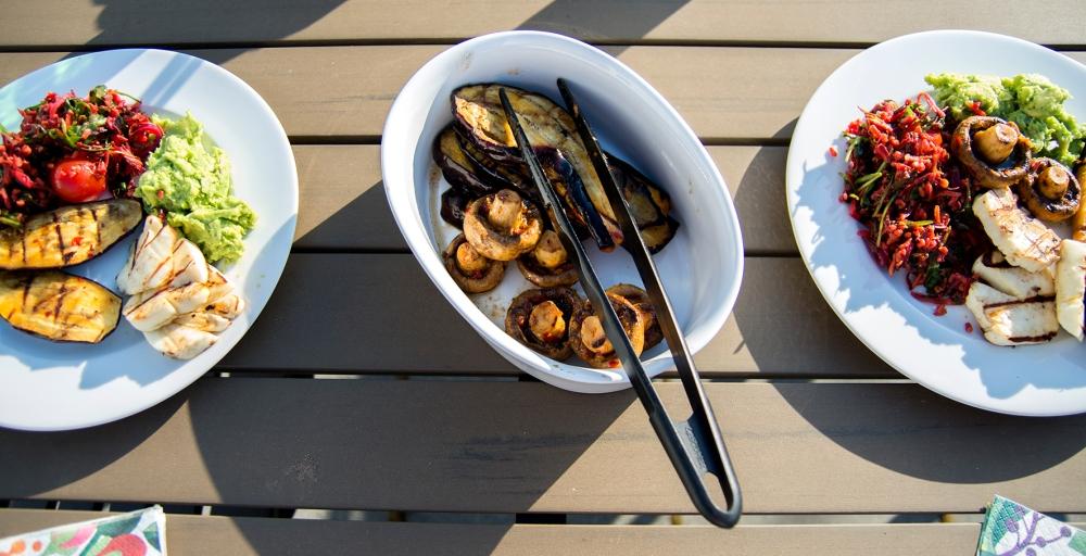veckansvego färdig grillad aubergine och champinjon med sting
